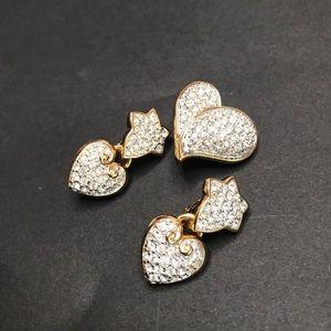 3 Gold Swarovski Heart CLIP ON Earrings